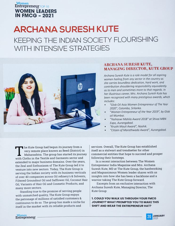 Mrs. Archana Suresh Kute (MD – The Kute Group) featured in the leading magazine as Women Entrepreneur India