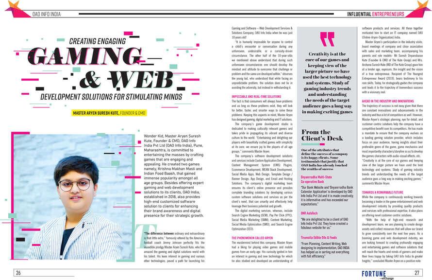 aryen kute featured in fortune India magazine